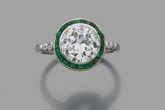 Bague Diamants Emeraudes - Adjugé : 10.000€