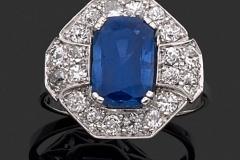Bague Platine Diamants Saphir Cachemire - Adjugé : 14.500€