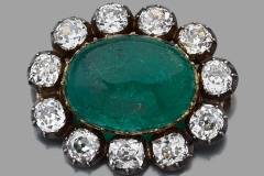 Broche Emeraude Diamants - XIXe siècle - Adjugé : 35.000€