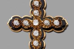 Croix Pendentif Or Diamants - XIXème siècle - Adjugé : 1.500€