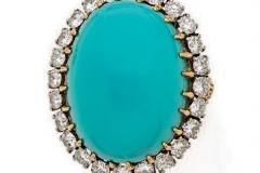 VAN CLEEF & ARPELS -  Bague Turquoise Diamants - Vers 1970 - Adjugé : 12.100€