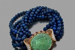 Cartier - Bracelet Lapis Lazuli Emeraude -  Adjugé :  30.200€