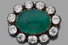 Broche Emeraude Diamants - XIXe siècle - Adjugé : 35.000€