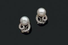 Paire de boucles d'oreilles Perles Fines - Adjugé 14.000€